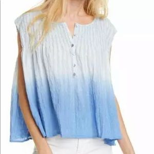 Free people chambray ombré flowy top small